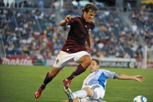 COMMERCE CITY, CO - AUGUST 7: of the Colorado Rapids controls the ball against the San Jose Earthquakes on August 7, 2010 at Dicks Sporting Goods Park in Commerce City, Colorado. (Photo by Garrett Ellwood/MLS via Getty Images) *** Local Caption ***